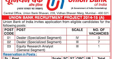 union bank of india recruitment 2014 dealer equity