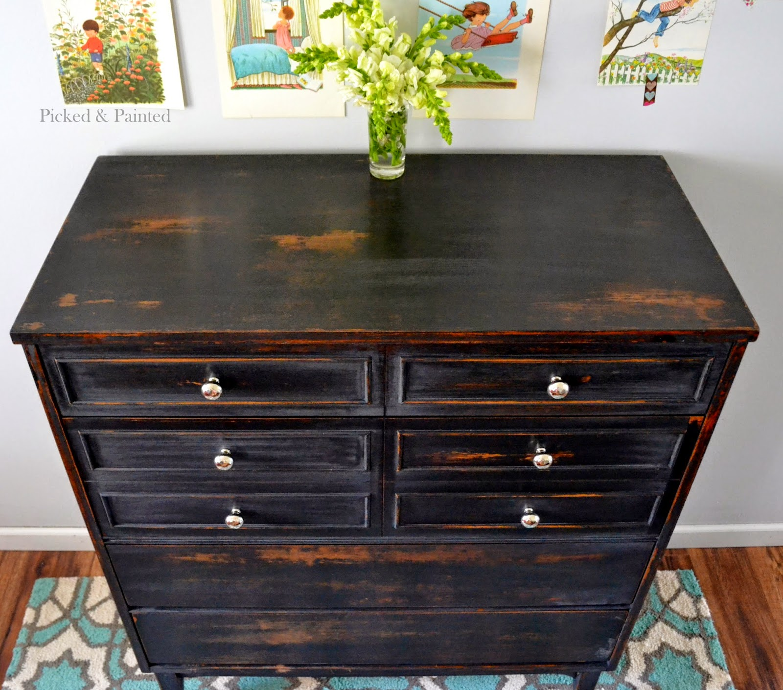 How to paint a black dresser white roselawnlutheran for Painting designs on wood furniture