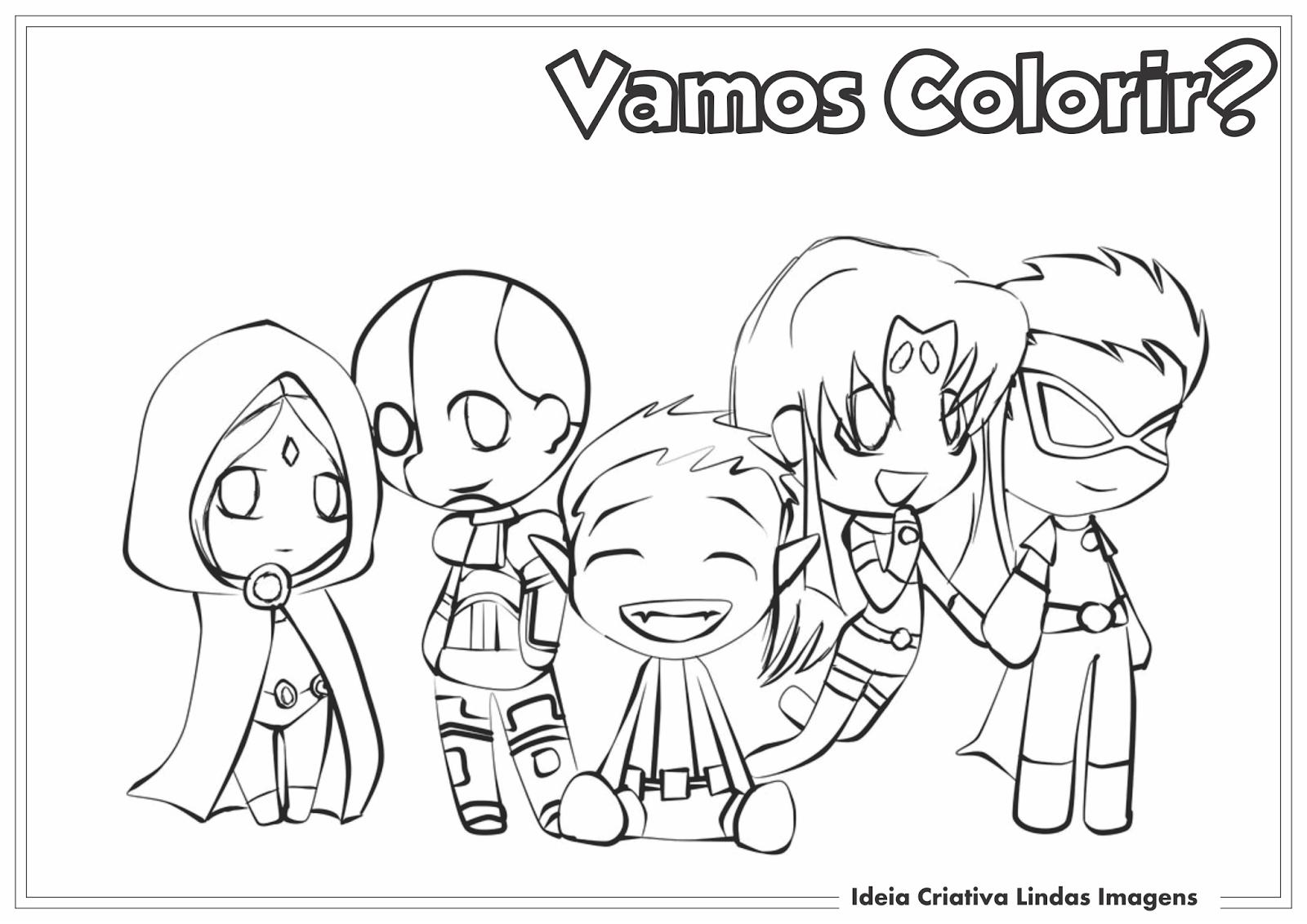 Jovens Titãs em Ação!  desenho pra colorir