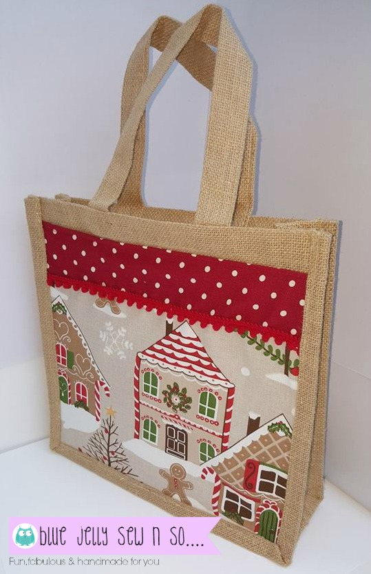 Blue jelly sew n so victoria rogers jute christmas tote