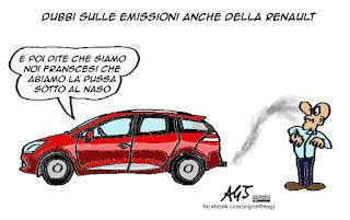 Renault, diselgate, emissioni, inquinamento, satira vignetta