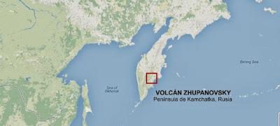 Volcán Zhupanovsky ubicacíon