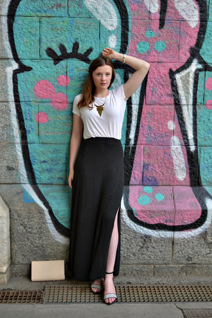 brandy melville maxi skirt, zara black and white sandals
