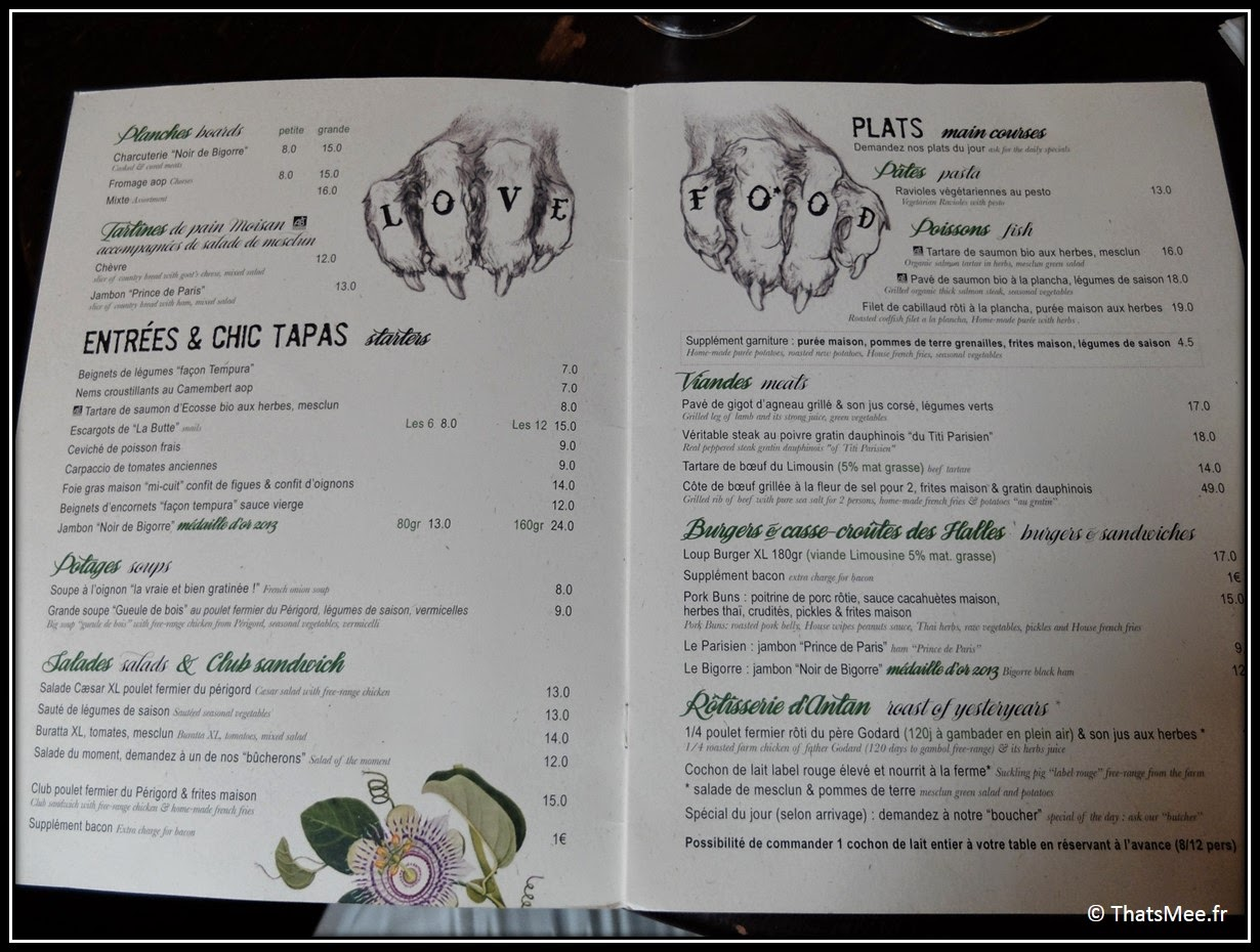 love food moto menu restaurant rotisserie Loupe rue du Louvre Paris