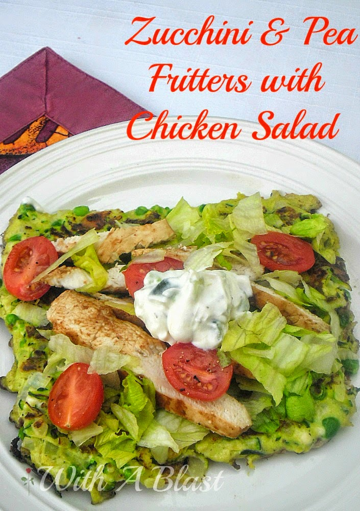 Zucchini and Pea Fritters with Chicken Salad ~ Enjoy a simple Chicken Salad over one of these large delicious, Zucchini fritters #ZucchiniRecipe #Fritters #ChickenSalad