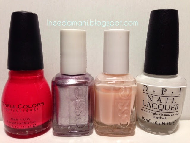 sinful colors thimbleberry essie nothing else metals essie hi matenance opi alpine snow