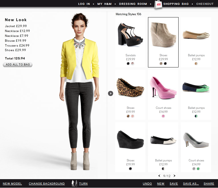 A styled outfit from the H&M virtual dressing room gadget