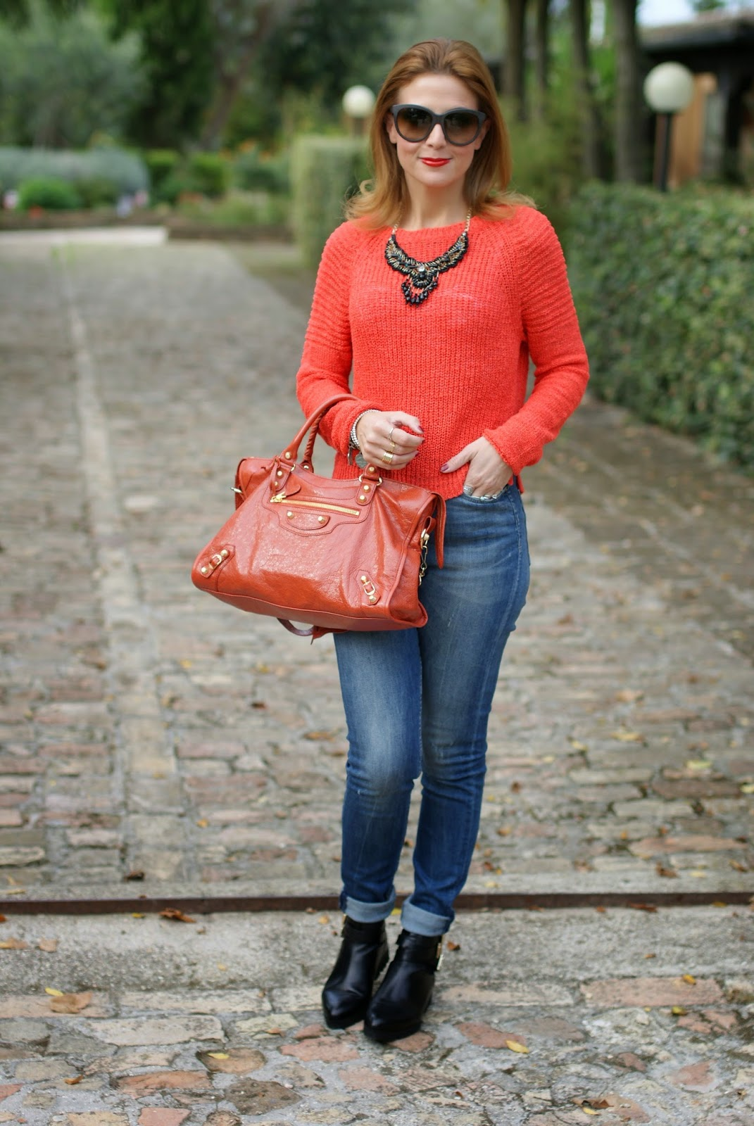 Balenciaga City rouge ambre bag, Luca Barra jewels, cut out boots, Fashion and Cookies, fashion blogger