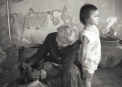 Grandmother and granddaughter in Kokkabok, Thailand