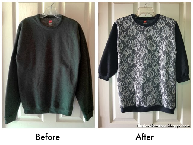 Ulterior Alterations: DIY Lace Overlay Sweatshirt Refashion