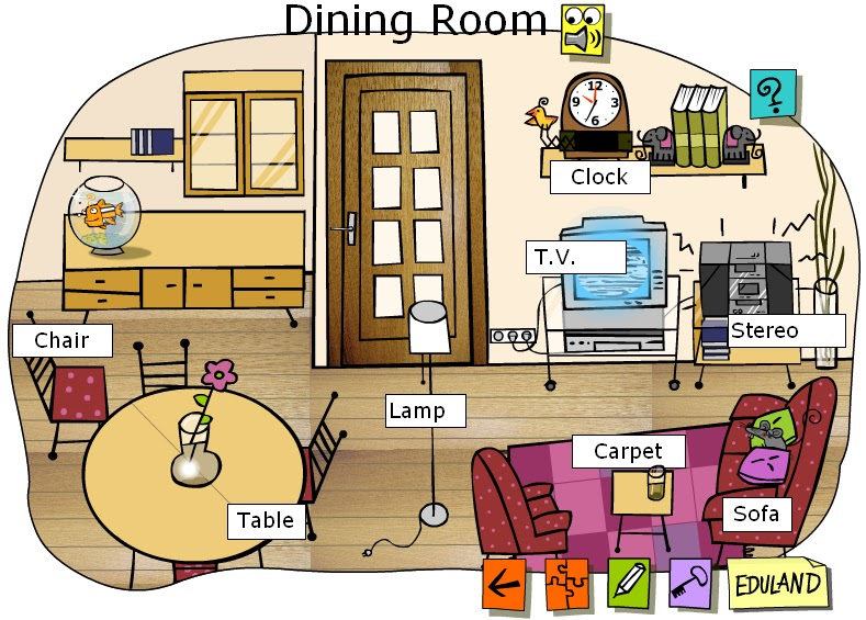 House kitchen and dinning room vocabul rio de ingl s em for Dining room y sus partes