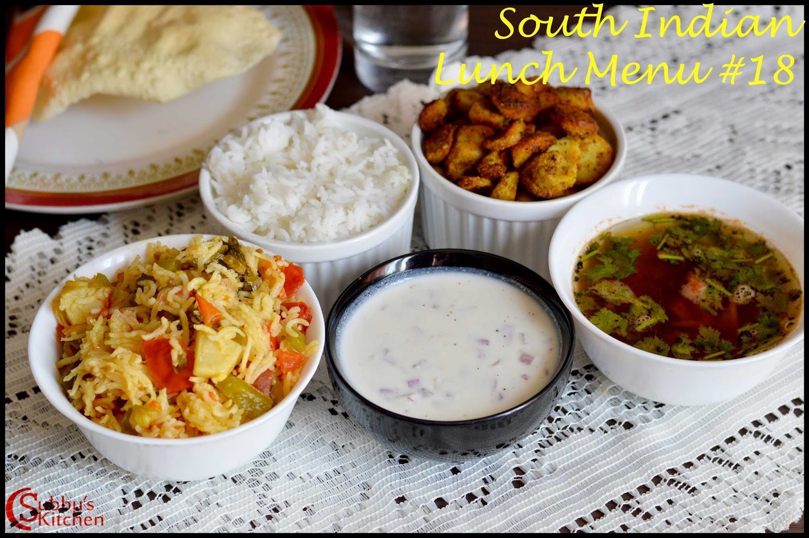 South Indian Lunch Menu 18 - Andhra Tomato Rice, Onion Raitha, Poricha Rasam, Tara Root Fry, Plain rice and pappad