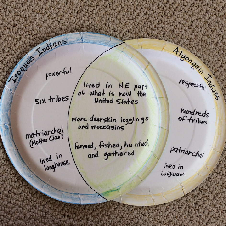 paper plate Venn diagram compare and contrast comparing and contrasting RI.3.9 RI 4.9