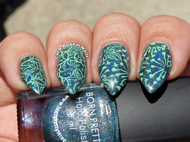 Teal Nails with BPS Holo Polish and Stamping