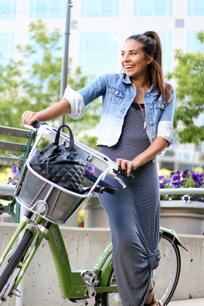 banana republic striped maxi dress and green bike
