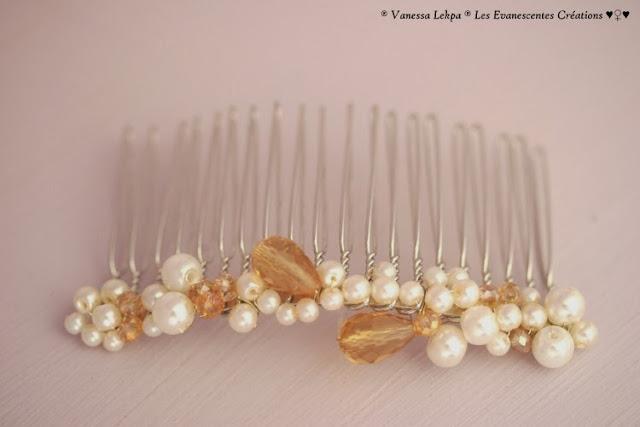 beaux bijoux de tête pour mariage , peigne argenté serti de perles de culture, et de cristaux swarovski. Création unique pour mariée, vanessa lekpa styliste