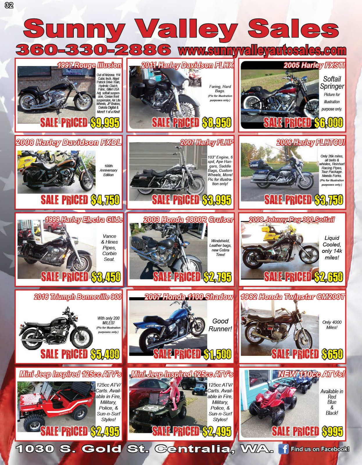 """""""Sunny Valley Sales"""" Used Jeeps, Trucks, Cars, Motorcycles, ATVs, Classics, More!!"""