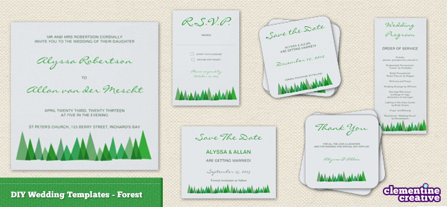 do it yourself wedding stationery templates forest