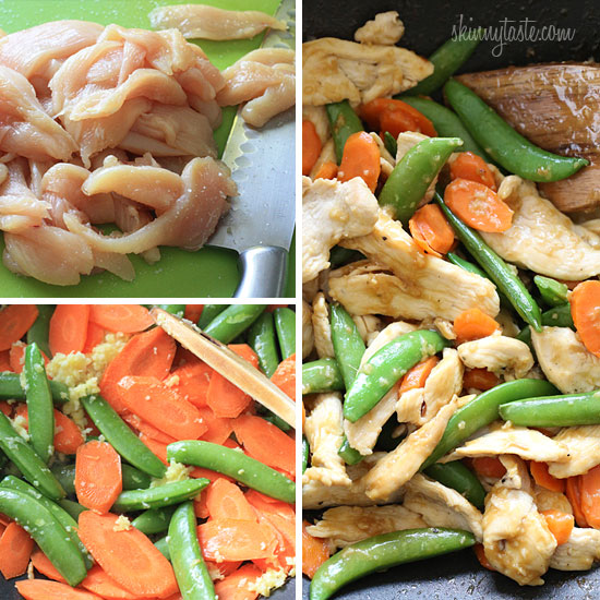 ... stir fry Spring Stir Fried Chicken with Sugar Snap Peas and Carrots