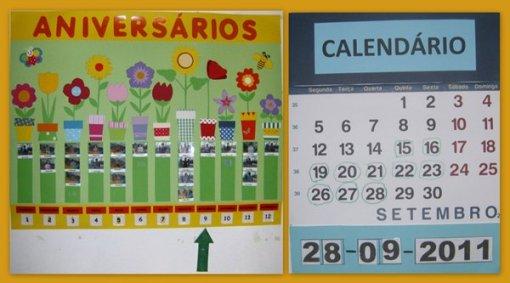 ideias para trabalhar no jardim de infancia:Jardins Coloridos: Quadro dos Aniversários e Calendário