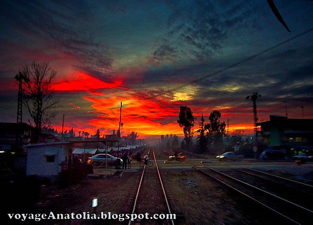 Sunset over Adana Railway Crossing