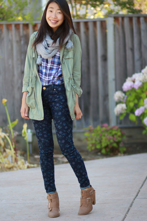 floral skinny jeans, print mixing, army jacket