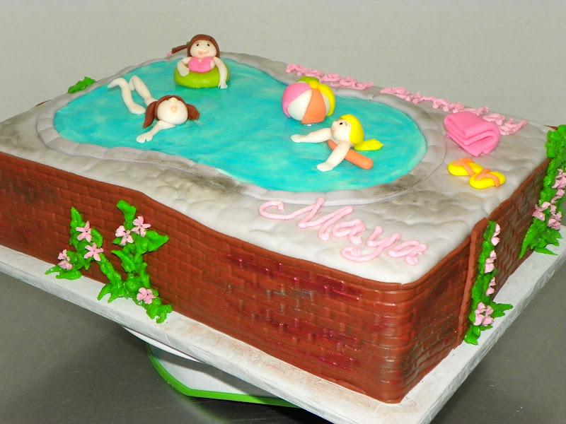 Plumeria cake studio pool party birthday cake pool party birthday cake sciox Choice Image