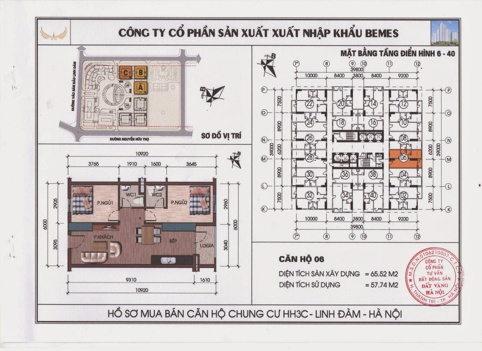 Căn hộ 2 phòng ngủ số 06 chung cư HH3C Linh Đàm Văn Khánh 0904996126