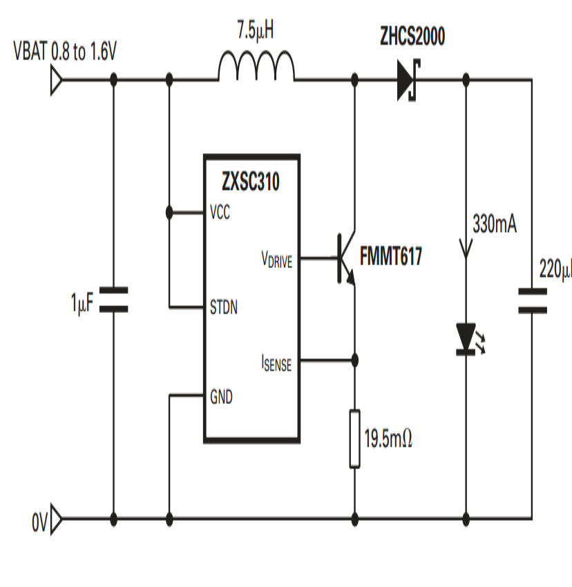 watt led driver circuit using a single . cell  electronic, circuit diagram