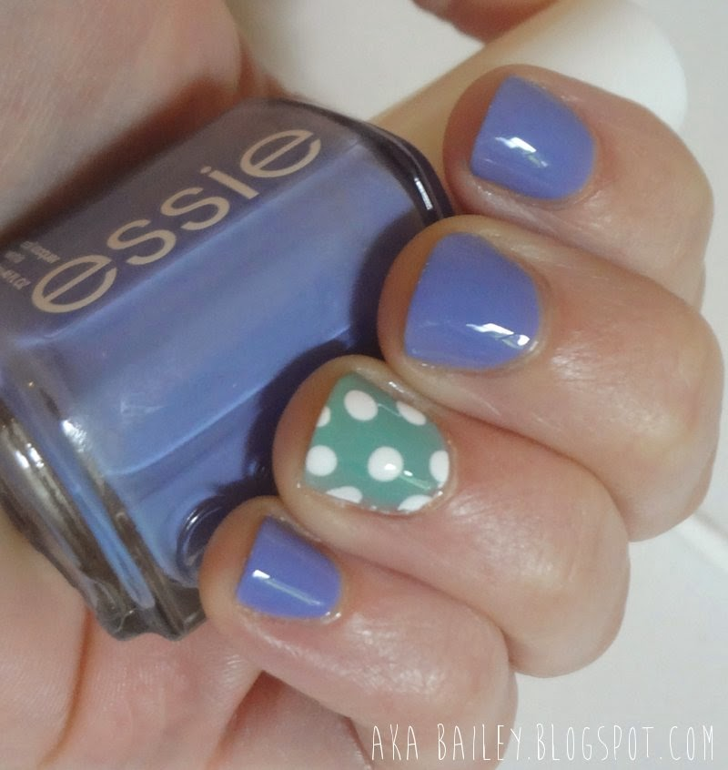 Essie's Lapiz of Luxury, with Turquoise & Caicos polka dot accent nail