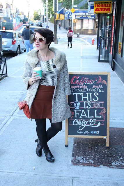 Fall Outfit- Anthopologie Coat, Burnt Orange Skirt, Coffee Shop Fashion