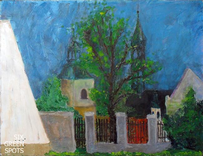 """""""Pejzaż II"""" - obraz 60x50 cm, olej na płótnie, Sandomierz 2008"""