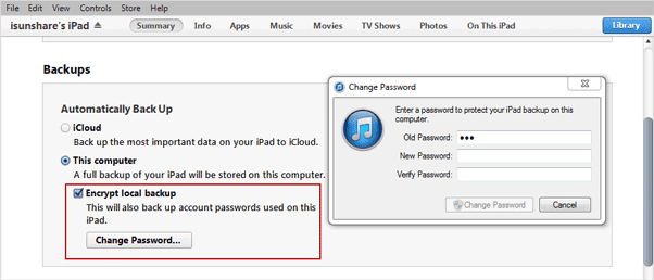 change iTunes forgotten backup password in iTunes without data loss