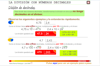 La división con números decimales,Matemáticas, Numeración, decimales