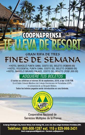 COOPNAPRENSA posponen rifa tres Fines de Semana para un Resort