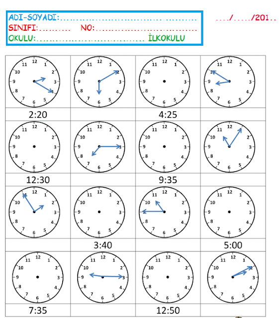 Digital clock worksheets year 1