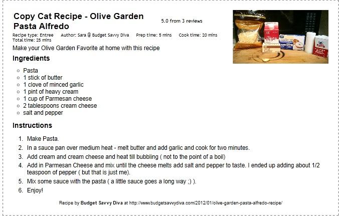 Typed Out: Copy Cat Recipe   Olive Garden Pasta Alfredo Recipe