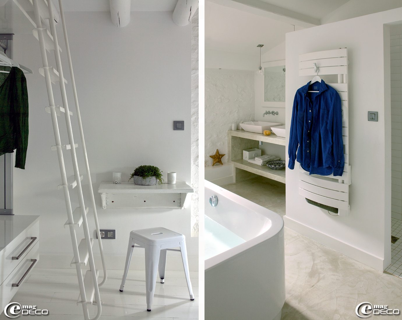 Dans une chambre de la maison d'hôtes de charme 'La Bergerie de Nano', dressing 'Cuisinella' laqué blanc, tabouret blanc Tolix, baignoire signée 'Starck' pour 'Duravit' et sol recouvert d'un enduit 'Mortex® Color'