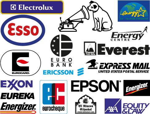 """Logos y marcas comerciales con la letra """"E"""" - vector"""