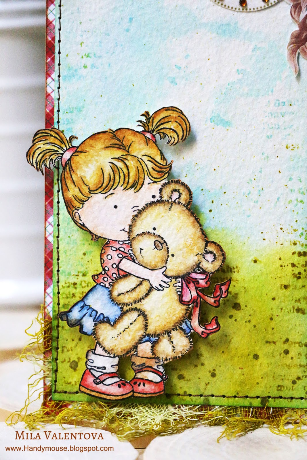 ТЭГ штамп девочка с медвежонком. Мила Валентова.