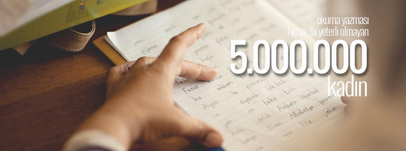 Türkiyede az ya da hiç okuma yazma bilmeyen 5000000 kadın var