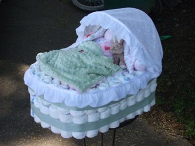 Diaper Pram Shaped Cakes For Baby Shower