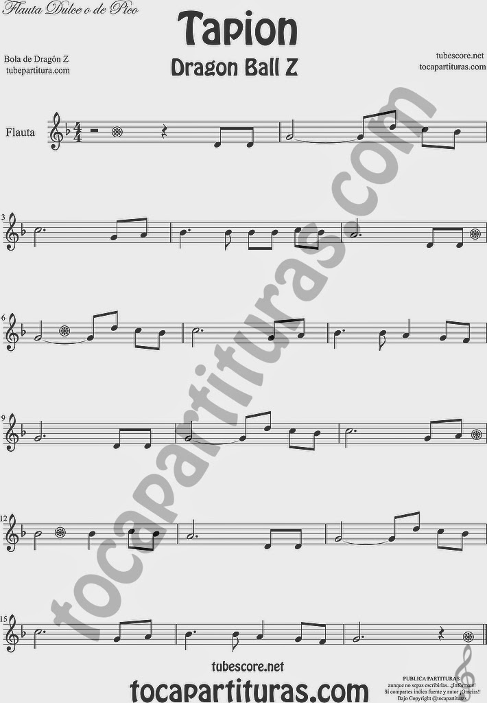 Tapión Partitura fácil de la Banda Sonora de Bola de Dragón Z Partitua en tonalidad fácil Tapion Easy Sheet Music for Dragon Ball Z