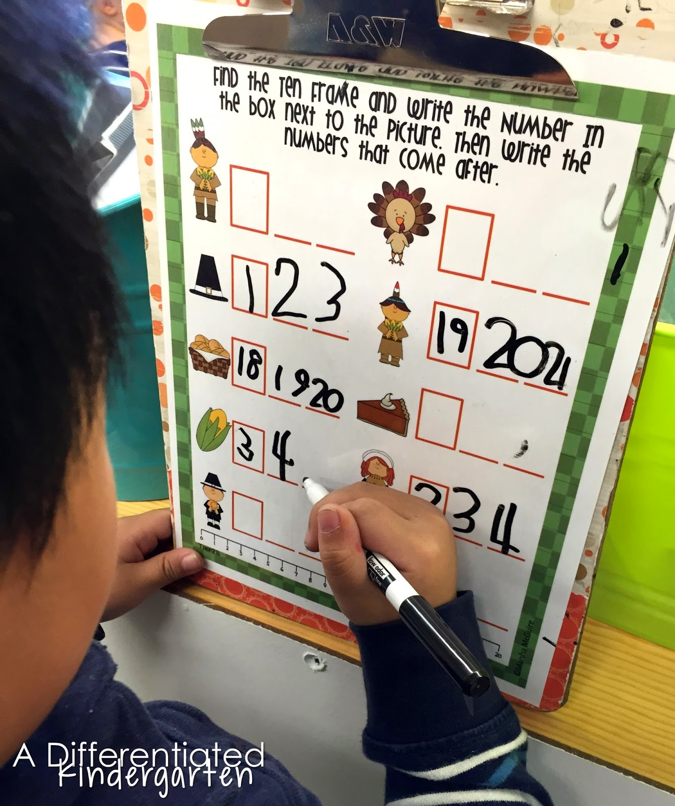 Write the Room For Math -Thanksgiving Tens Frames