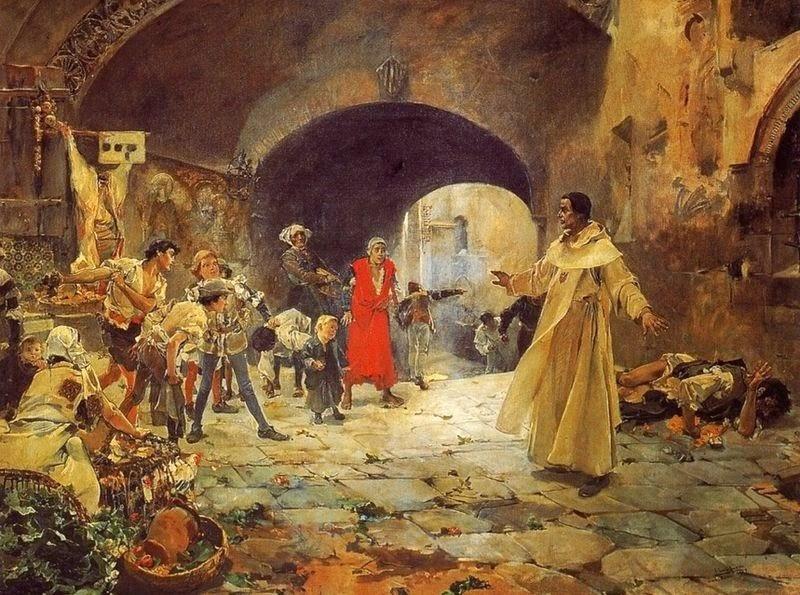 """""""El Padre Jofré defendiendo a un loco"""". J. Sorolla, 1887"""