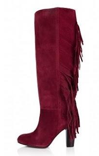 cizme rosii piele intoarsa cu franjuri