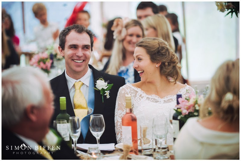 Bride and Groom reactions during the speeches
