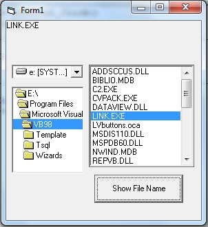 program show the file name of a file