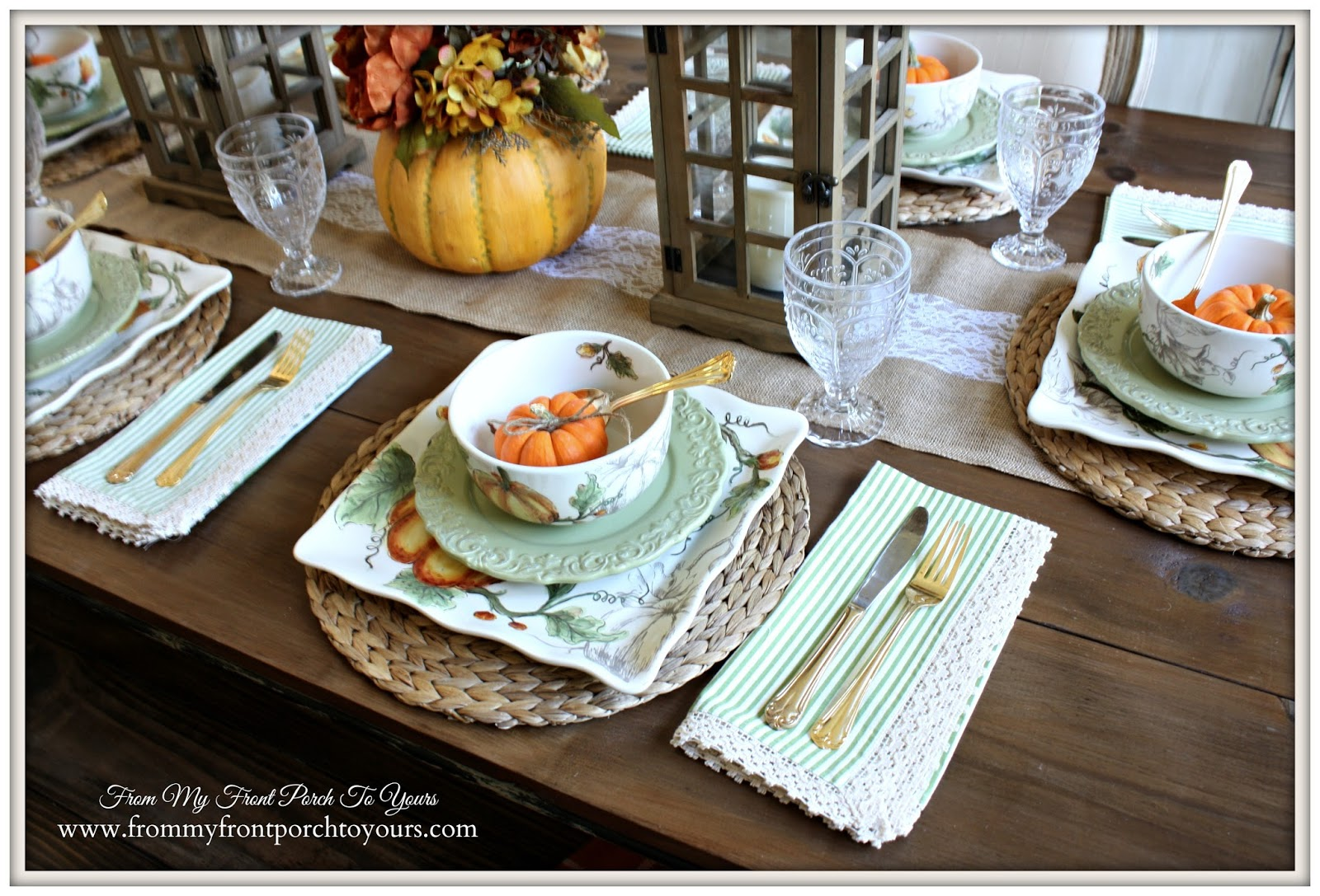 Maxcera Pumpkin Flower Fall Place Setting French Country  Farmhouse Fall Dining  Room