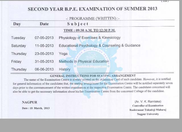 BPE Second Year Summer 2013 Timetable RTM Nagpur University